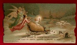 Image Pieuse Religieuse Holy Card Les Joies Du Divin Avènement Je Viens Dit Jésus ... - Ed Boumard 5376 - Traineau Ange - Images Religieuses