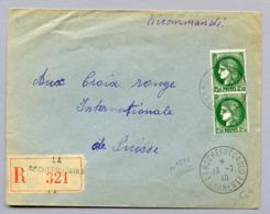 AFFRANCHISSEMENT PAIRE CERES N° 375 à 2FR50 SUR LRI PUR CROIX ROUGE SUISSE  DU 19/7/40 - Marcophilie (Lettres)