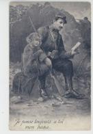 """GUERRE 1914-18 - Jolie Carte Fantaisie Poilu Avec Lettre Dans La Tranchée """"Je Pense Toujours à Toi Mon Papa """" - Guerre 1914-18"""