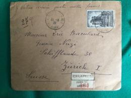 FRANCE  LETTRE CHARGÉE DE MURÂT A ZURICH VALEUR DÉCLARÉE 4000 FRANCS - Cartas