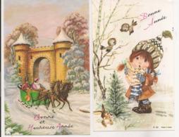 L60b057 - Bonne Année - Deux Cartes - Attelage Dans La Neige Et Fillette Chantant Avec Les Oiseaux (JLP N°2052 Et 62) - Neujahr