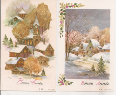 L60b058 - Bonne Année - Deux Cartes - Villages Sous La Neige  (JLP N°22 Et 28) - Nouvel An