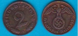 DR. 2 Reichspfennig 1937 F Kupfer J.-Nr.362 - [ 4] 1933-1945 : Third Reich