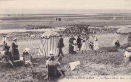 14. VILLERS SUR MER. CPA. ANIMATION. LA PLAGE A MARÉE BASSE - Villers Sur Mer