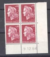 CD  158 -  France  -  Coins Datés  :  Yv  1536B  **    9-12-68 - Ecken (Datum)