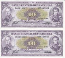 PAREJA CORRELATIVA DE VENEZUELA DE 10 BOLIVARES DEL AÑO 1988 SIN CIRCULAR  (BANKNOTE) UNCIRCULATED - Venezuela