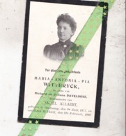 Maria Antonia Pia Witteryck-Allaert-Daveloose, Oostcamp 1877, Thielt 1908 - Décès