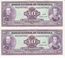 PAREJA CORRELATIVA DE VENEZUELA DE 10 BOLIVARES DEL AÑO 1992 SIN CIRCULAR  (BANKNOTE) UNCIRCULATED - Venezuela