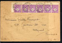AFFRANCHISSEMENT AVEC BANDE DE 6 ARC TRIOMPHE à 3FRS LILAS SUR LETTRE PR USA  12/11/1948 - 1944-45 Arc De Triomphe