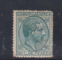 ESPAÑA.  EDIFIL 196 *.  50 CT VERDE ALFONSO XII.  CATÁLOGO 80 € - Nuevos