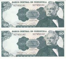 PAREJA CORRELATIVA DE VENEZUELA DE 20 BOLIVARES DEL AÑO 1992 SIN CIRCULAR  (BANKNOTE) UNCIRCULATED (BANKNOTE) - Venezuela