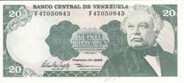 BILLETE DE VENEZUELA DE 20 BOLIVARES DEL AÑO 1998 SIN CIRCULAR  (BANKNOTE) UNCIRCULATED (BANKNOTE) - Venezuela