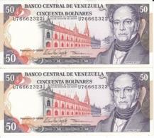 PAREJA CORRELATIVA DE VENEZUELA DE 50 BOLIVARES DEL AÑO 1998 SIN CIRCULAR  (BANKNOTE) UNCIRCULATED - Venezuela