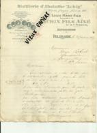 01 - Ain - Bellegarde - Facture Absinthe Achin Fils Ainé - Boissons - Liqueurs -Ref 36- - France