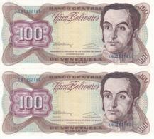 PAREJA CORRELATIVA DE VENEZUELA DE 100 BOLIVARES DE DICIEMBRE-8-1992 SIN CIRCULAR  (BANKNOTE) UNCIRCULATED - Venezuela