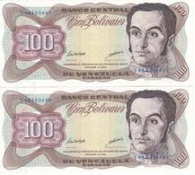 PAREJA CORRELATIVA DE VENEZUELA DE 100 BOLIVARES DE OCTUBRE-13-1998 SIN CIRCULAR  (BANKNOTE) UNCIRCULATED - Venezuela
