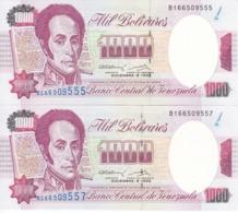 PAREJA IMPAR DE VENEZUELA DE 1000 BOLIVARES DEL AÑO 1992 SIN CIRCULAR  (BANKNOTE) UNCIRCULATED - Venezuela
