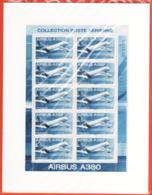 PA 69 F69a , Neuf  ** , Airbus A 380 , Feuille De 10 Timbres Cadre Blanc , Port Gratuit - Blocs & Feuillets