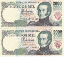 PAREJA IMPAR DE VENEZUELA DE 2000 BOLIVARES DE AGOSTO-6-1998 SIN CIRCULAR  (BANKNOTE) UNCIRCULATED - Venezuela