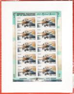 PA 77 F77c , Neuf  ** , Roland Garros , Feuille De 10 Timbres Cadre Blanc , Port Gratuit - 1960-.... Neufs