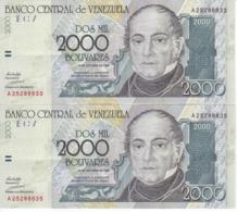 PAREJA IMPAR DE VENEZUELA DE 2000 BOLIVARES DEL AÑO 1998 EN CALIDAD EBC (XF)  (BANKNOTE) - Venezuela