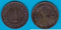 DR. 1 Reichspfennig 1933 A Kupfer J.-Nr.313 - [ 3] 1918-1933 : República De Weimar