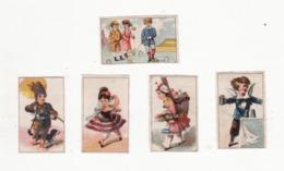 Lot De 5 Chromos Sans Pub    Personnages, Jeu De Croquet     Très Petit Format Mini    4.4 X 2.7 Cm - Trade Cards