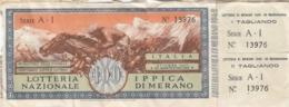 LOTTERIA NAZIONALE IPPICA DI MERANO /  Biglietto Da Lire 100 _ Estrazione Ottobre 1949 - Biglietti Della Lotteria