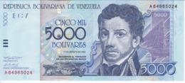 BILLETE DE VENEZUELA DE 5000 BOLIVARES DEL AÑO 2002 SIN CIRCULAR (BANKNOTE) UNCIRCULATED - Venezuela