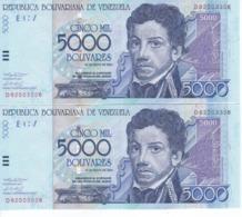 PAREJA IMPAR DE VENEZUELA DE 5000 BOLIVARES DEL AÑO 2004 EN CALIDAD EBC (XF) (BANKNOTE) - Venezuela
