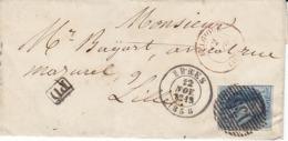 N° 11 Sur Lettre De 1858 D' Ypres Pour La France ,2 Scans - 1858-1862 Medaglioni (9/12)