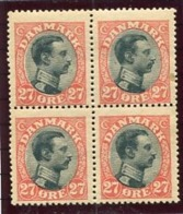 DENMARK 1918 King Christian X Definitive 27 Øre Block Of 4 MNH / ** .  Michel 101 - Nuovi