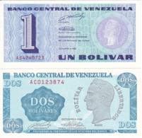 LOTE DE 2 BILLETES DE VENEZUELA DE 1 Y 2 BOLIVARES DEL AÑO 1989 SIN CIRCULAR  (BANKNOTE) UNCIRCULATED (BANKNOTE) - Venezuela