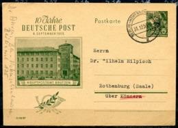 """DDR 1955 Ganzsache 10 Jahre Deutsche Post Mi.Nr.P 66 Mit Tstp""""Berlin Hohenschönhausen"""" 1 Beleg - Briefe U. Dokumente"""