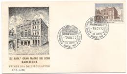 1972-ED. 2114 SERIE COMPLETA EN S.P.D.-125 ANIVER. DEL GRAN TEATRO DEL LICEO DE BARCELONA-MAT. ESPECIAL D BARNA - FDC