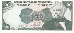 BILLETE DE VENEZUELA DE 20 BOLIVARES DEL AÑO 1990 SIN CIRCULAR  (BANKNOTE) UNCIRCULATED (BANKNOTE) - Venezuela
