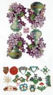 Schäfer & Scheibe 11383 + Littauer & Boysen - L & B 3737 - SCRAP -  DECOUPIS  - Gaufré / Embossed - Flowers - 2 Scans - Flowers
