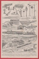 Chemin De Fer. Chemins De Fer. Matériels. Train. Ouvrages. Une Gare Et Son Environnement. Larousse 1931. - Documentos Históricos