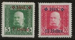 Bosnie-Herzégovine 1915 N°Y.T. : 88 Et 89 * - Bosnien-Herzegowina