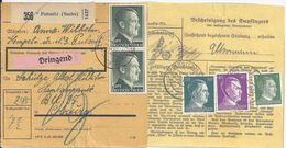 DR 1942, Pulsnitz (Sachs), Paketkarte M. DRINGEND Frankatur. #2579 - Germania