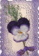 Carte Avec Découpes Et Collages Pensée - Fleurs