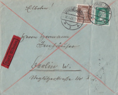 DR Brief Eilbote Mif Minr.387,396 Düsseldorf 16.3.28 - Briefe U. Dokumente