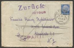 FÜSSEN Auf Brief Mit 25 Pf. Hindenburg Aus 1939, Nach Amerika, Und Zurück. Viele Stempel Rückseitig - Alemania