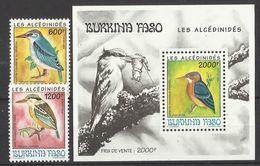 BURKINA FASO  1994  BIRDS - KINGFISHERS - SET &  MS     MNH - Uccelli