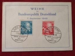 Karte Weihe Der Bundesrepublik Deutschland 7. September 1949 Michel 111, 112 Bonn - [7] République Fédérale