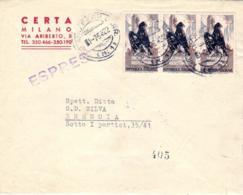 1954- Resistenza Striscia L.25 Su Busta Espresso - 6. 1946-.. Repubblica