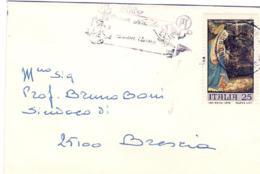 1971-biglietto Da Visita Affrancato L.25 Natale Isolato Annullo Meccanico - 1971-80: Storia Postale