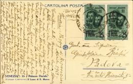 1945- Cartolina Venezia Affr. Coppia 5c. F.lli Bandiera - 4. 1944-45 Repubblica Sociale