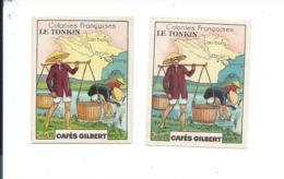 Chromo INDOCHINE TONKIN 1 Chromo Cartonnée + 1 Chromo Papier Colonies Françaises Pub: Gilbert 56 X 44 Mm TB - Tè & Caffè