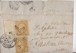 PARIS Etoile 1  Plus Cachet  PL DE LA BOURSE 1867  2x Napoleon 10c Dentelé YT 21 - Poststempel (Briefe)
